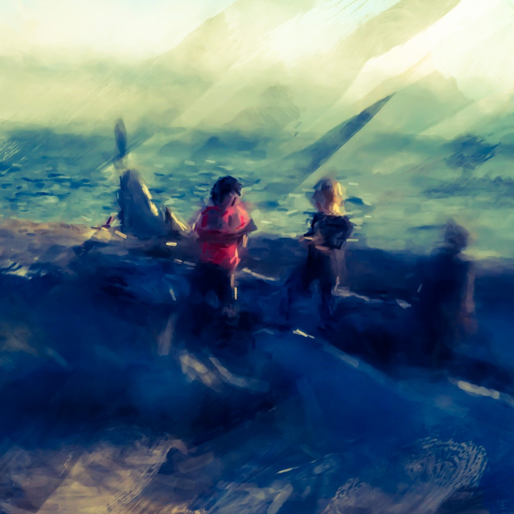 Kids playing on a beach in Edmonds Washington photography digital art